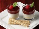Panna Cotta wit cookies on a plate